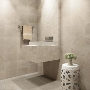 Glacier cove cresent beige bathroom flooring | Shelley Carpets
