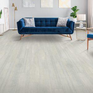 Blue sofa on Laminate floor | Shelley Carpets