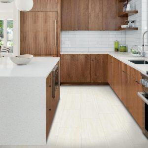 White tiles in kitchen | Shelley Carpets